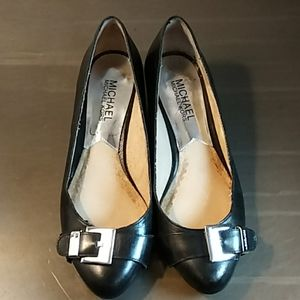 Michael Kors Black Logo Buckle Low Wedge Heels 6M